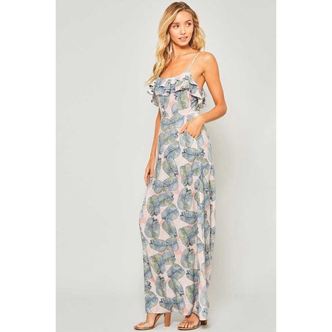 Promesa Dusty Pink Topical Leaves Print Maxi Dress with Tiered Flounce Detail