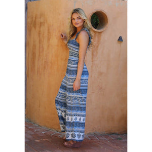 Angie Ivory Blue Smocked Waist Wide Leg Jumpsuit with Ruffled Cami Straps