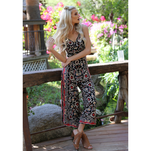 Angie Black Boho Abstract Print Spaghetti Strap Jumpsuit with Tie Back Detail
