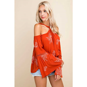 Blushing Heart Orange Embroidered Cold Shoulder Boho Top with Bell Sleeves
