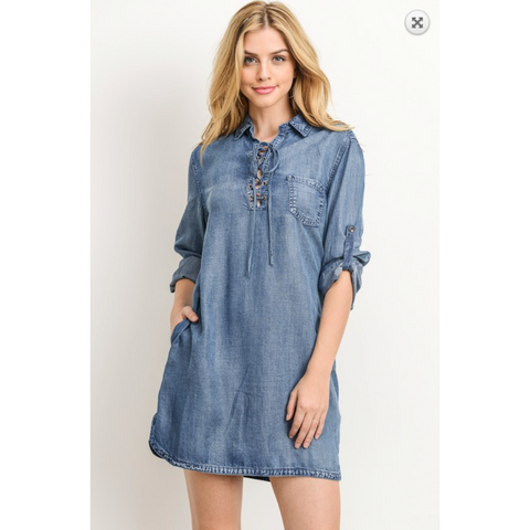 Gilli Denim Dress with 3/4 Sleeve, Lace Up Front Chest and Hidden Pockets