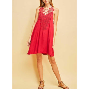 Entro Cherry Red Halter Style Dress with Crochet and Criss Cross Detail, Lined