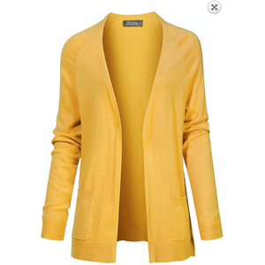 2Sable Light Mustard Classic Soft Knot Open Front Cardigan with Side Pockets