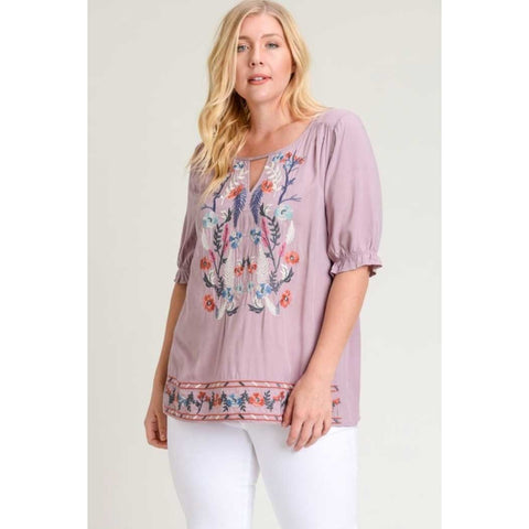 Jodifl Dusty Lilac Embroidered Keyhole Top with Ruffle Edge Sleeves PLUS