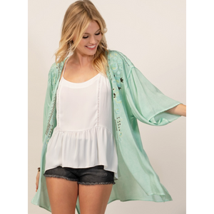 Andree Mint Embroidered Floral Aztec Bell Sleeve Kimono