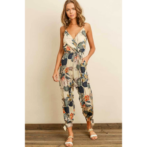 Dress Forum Floral Print Cami Strap Jumpsuit with Tie Waist Side Slits and Ankle Ties