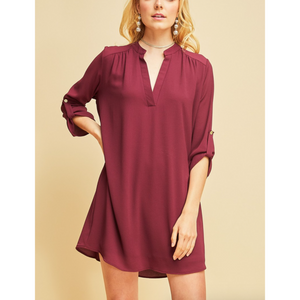 Entro Merlot Vneck Fully Lined Casual Shift Dress