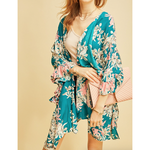Entro Jade Floral Print Ruffle Bell Sleeve Hankkerchief Cut Open Front Kimono