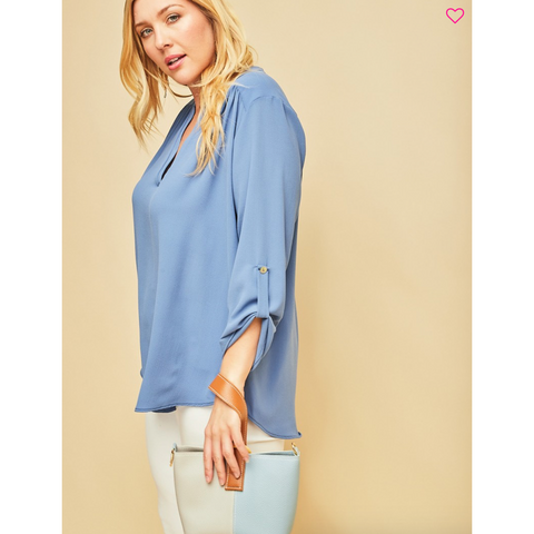 Entro Cornflower Blue VNeck Straight Fit 3/4 Sleeve Top Curvy