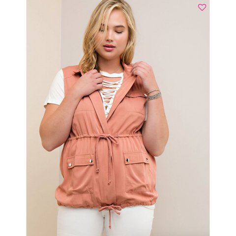 Salmon Vest with Snap & Drawstring Closure with Side Pockets