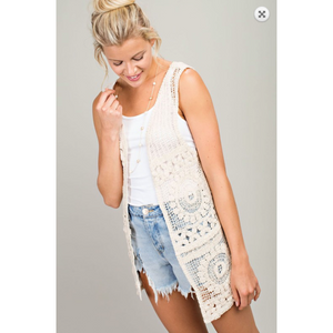 Natural Cream Bohemian Crochet Sleeveless Vest