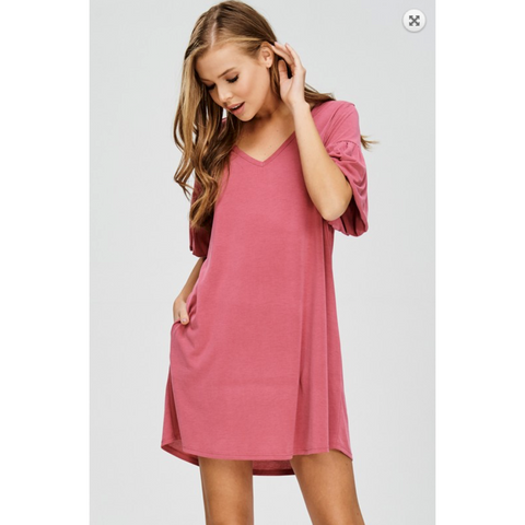 Cherish Deep Rose Modal Dress Bubble Ruffle Sleeve with Hidden Side Pocket