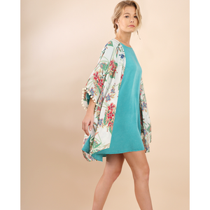 Umgee White Tropical Floral Mix Print with Pom Trim Sleeves and Side Slits