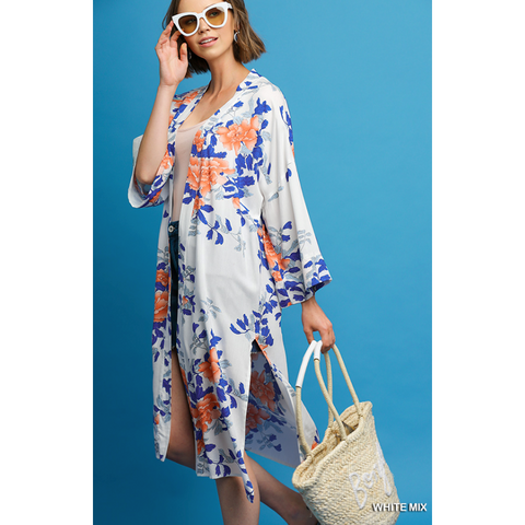 Vibrant Corals Blues Floral Mix Print Long Kimono with Side Slits