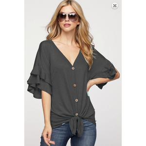 Charcoal Wood Button Front Terry Top with Tiered Ruffles Sleeves