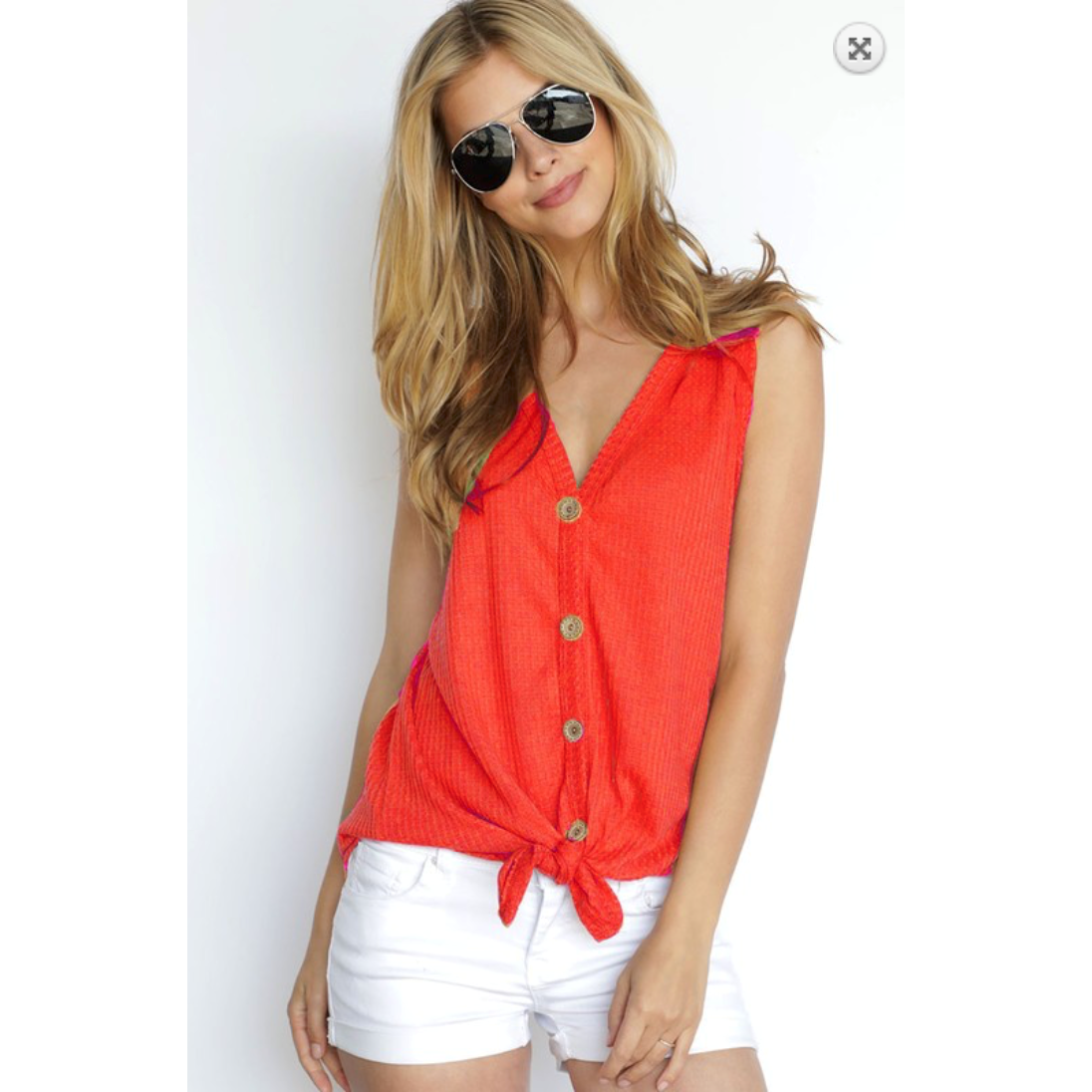 Vibrant Coral Sleeveless Waffle Knit with Button & Front Tie Detail