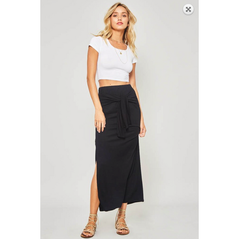 Solid Black Tie Waist Front Feature Maxi Skirt