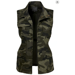 Camo Drawstring Waist Military Anorak All Season Vest