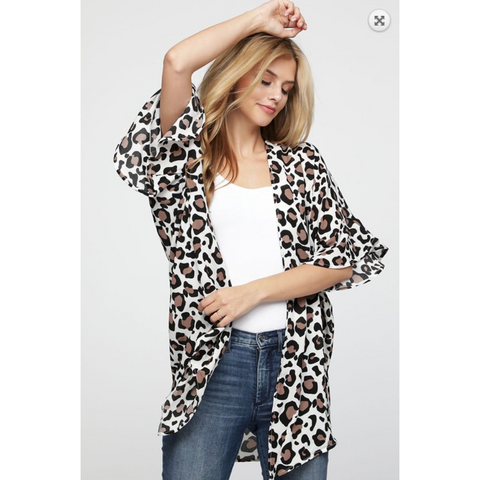Leopard Print Woven Crepe Cardi Kimono with Ruffled Bell Sleeves