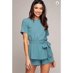 Solid Sage Double Layered Romper with Waist Tie Feature
