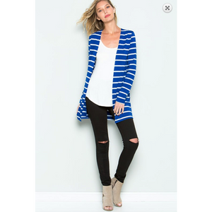 CY Royal Blue Ivory Stripe Tunic Open Cardi with Side Pockets