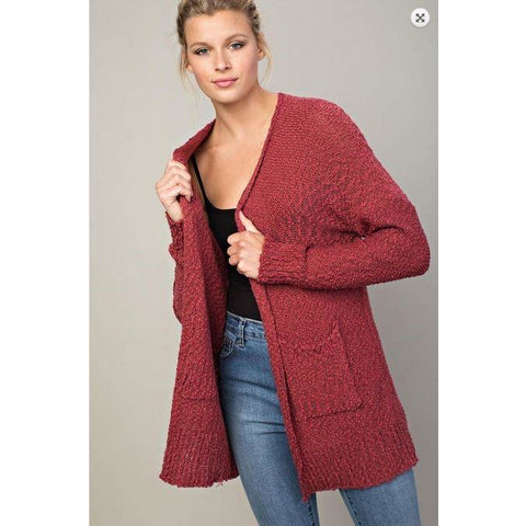 Llove Plum Berry Chunky Knit Popcorn Open Front Cardigan with Side Pockets