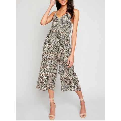 Leopard Print Palazzo Crop Jumpsuit with Tie Back Cami Straps