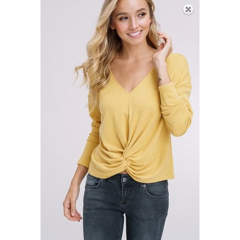Listicle Mustard Ribbed Knitted Front Knot Vneck Long Sleeve Top