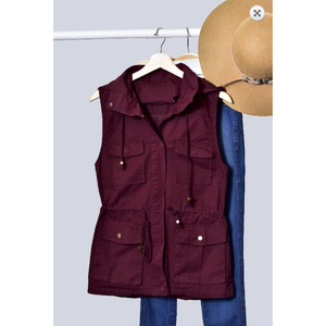 Zenana Dark Plum Drawstring Waist Military Anorak All Season Vest