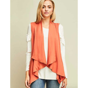 Cinnamon Twill Drape Front Vest with Cinched Ruffle Back