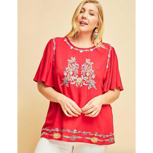 Burgundy Embroidered Flutter Sleeve Top-Perfectly Plus