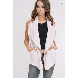 Cream Double Side Faux Fur Vest with Camel Trim and Side Pockets