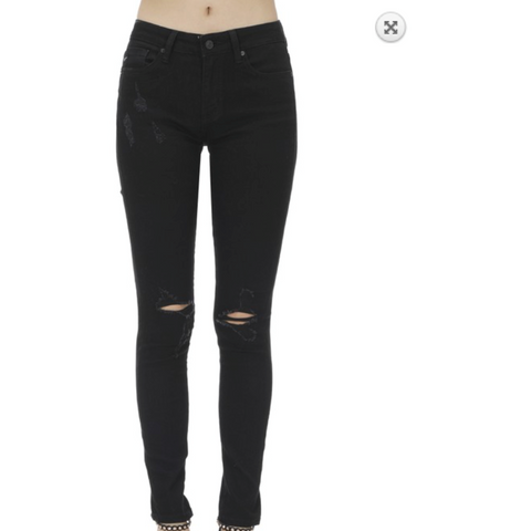 Black Slight Distressed Low to Mid Rise Split Ankle Jeans