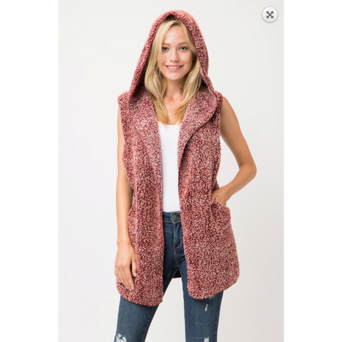 Heathered Wine Sherpa Vest with Hood and Side Pockets