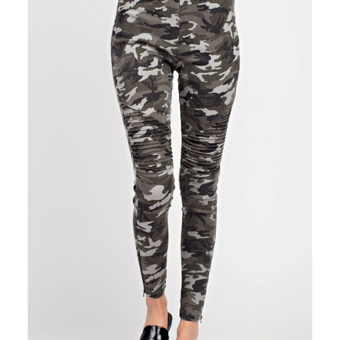 Gray Camo Moto Legging Jeans with Zipper Ankle Detail