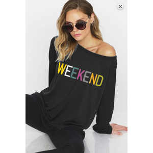 Multicolor Weekend Graphic Wide Neck Sweatshirt with Off Shoulder Option