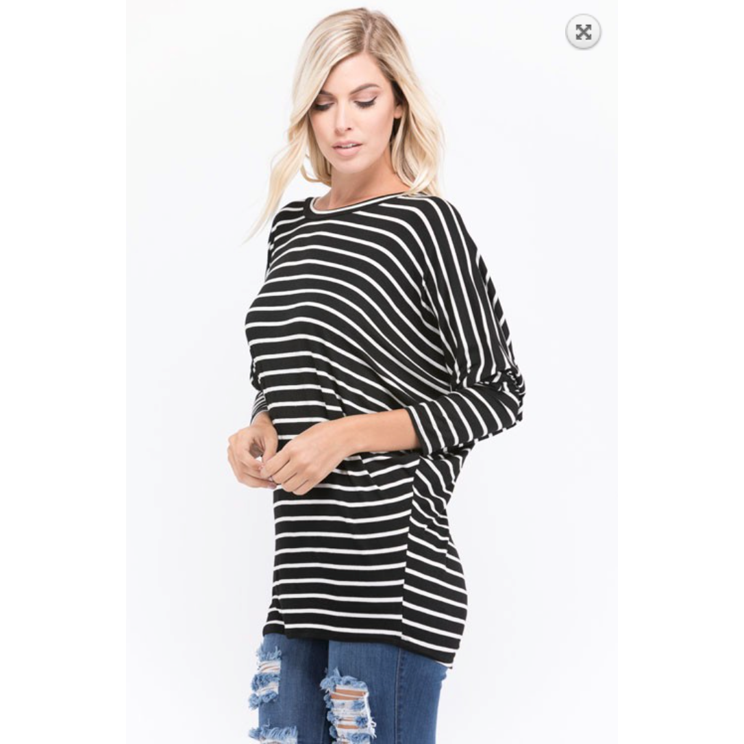 Black Ivory Stripe Dolman Sleeve Top