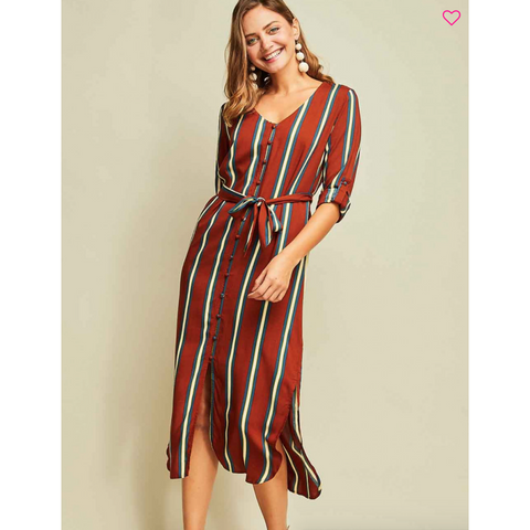 Rust Navy Striped Button Up Midi Dress with 3/4 Sleeve Button Detail