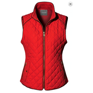 Cherry Red Diamond Quilted All Season Padded Puffer Vest with Cocoa Trim