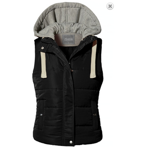 Solid Black Quilted Lined Padded Puffer Vest with Drawstring Fleece Hoodie