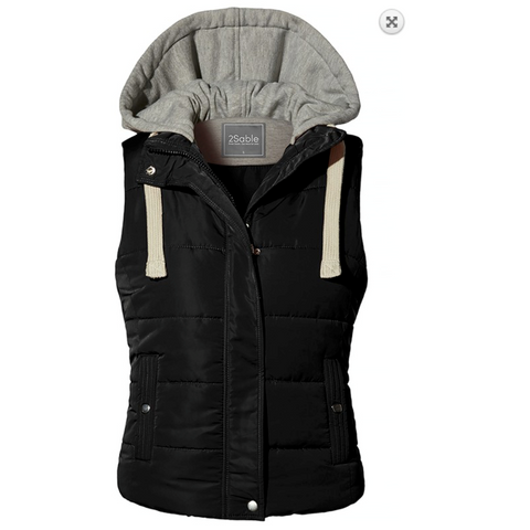 Solid Black Quilted, Lined, Padded, Puffer Vest with Drawstring Fleece Hoodie