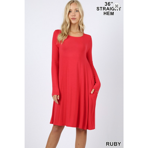 Ruby Long Sleeve Dress with Side Pockets