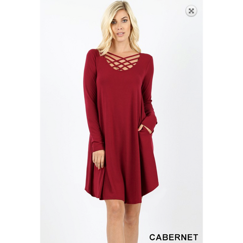 Cabernet Premium Long Sleeve Triple Lattice Neck Dress
