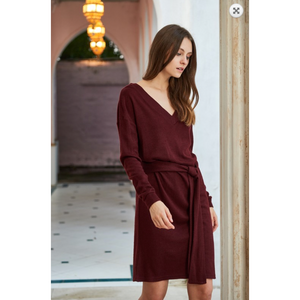 Solid Sangria Deep Vneck Sweater Dress with Side Waist Tie Option