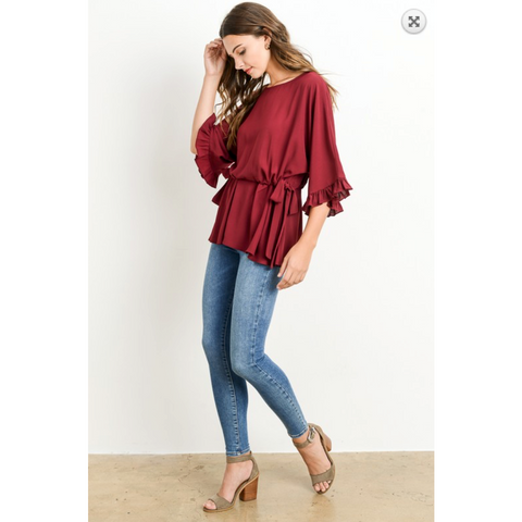 Wine Peplum Top with Double Side Cinch Waist Tie and Ruffled Sleeve Detail