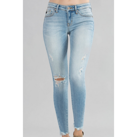 Sydney Light Wash Low to Mid Rise Distressed Skinny Jeans with Frayed Hem