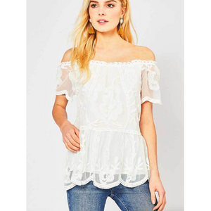 Ivory Off Shoulder Lace Top with Drop Waistline