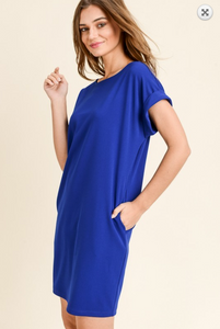 Electric Blue Amunzen Tshirt Dress with Seam Pockets