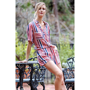 Coral Multi Stripe Gauze Linen Button Down Romper with Side Pockets