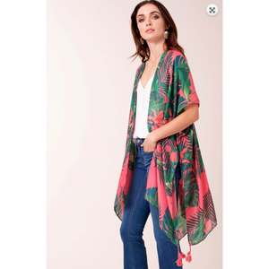 Tropical Palm Leaf Hibiscus and Lily Print Kimono with Tassels